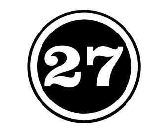 CUSTOM NUMBER ROUND Vinyl Window Decal Pick your size and color