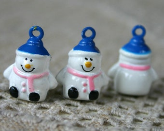 3pcs Jingle Bell Snowman Charms Brass Enamel 20x18mm Christmas Decor
