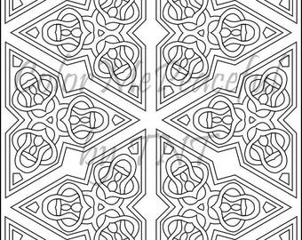 Kaleidoscope Adult Coloring Page - Calm Kaleidoscopes, Volume 1, Page 10 | Printable Instant Download