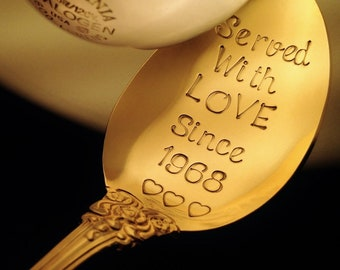 50th Anniversary Gift: Personalized Hand Stamped Gold Serving Spoon, Golden Anniversary, 50th Wedding, 50 Years, Served With LOVE Since 1968