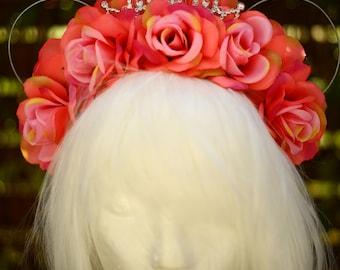 Peach - Mickey Mouse Ears/Disney Bound Ears / Floral Headdress / Flower Crown