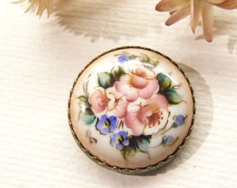 """Beautiful ROSES Floral Button, Hand Painted Enamel?, Unusual Back, 1 1/16"""", ANIMAL Charity Donation"""