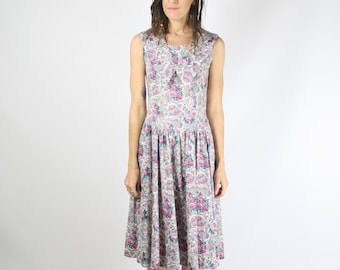 Paisley cotton vintage dress, 80s day dress, Pink Floral Paisley Oversize collar Sleeveless Tea dress, Small 3675