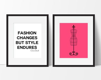 Girls Fashion Wall Art, Fashion Changes Quote, Dress Form Art, Dorm Decor, Office Decor, Vanity Art