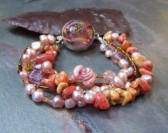 Coral Bracelet with Sterling Silver Tropical Fish Clasp | Boho Pink Pearl Bracelet | Multi Strand Welo Opal, Sea Shell, Pirate Jewelry