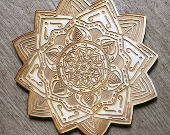 Mandala Crystal Grid - 3, 6, 9  or 12 Inches - Wooden Crystal Grid - Sacred Geometry