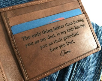 Fathers day gift for grandfather, gift for grandpa, Father's day gift for grandad wallet, personalized grandfather gift •Toffee 7751 >
