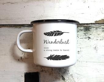 Enamel Mug / Enamel Mugs / Enamelled Mug / Camping Enamel Mug / Custom Enamel Mug / Personalised Enamel Mug / Gift Enamel Mug / Wanderlust