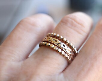 Stacking Ring Set - Gold Helix Infinity Stack Ring - Dainty Gold Ring - Gold Beaded Ring - Stack Ring Set - Set of 3 - Hammered Beaded Ring