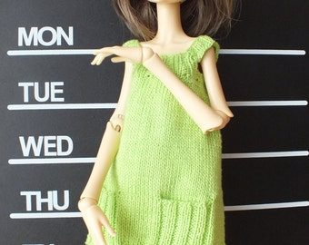 Handmade knitted Doll Chateau Kid BJD MSD cotton dress tunic with pockets light green
