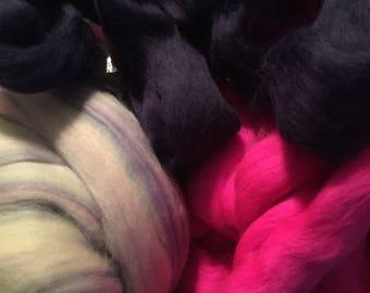 Ashland Bay - Merino Roving - Multiple Colorways (Thistle, Crocus, Magenta) - 4 ounces