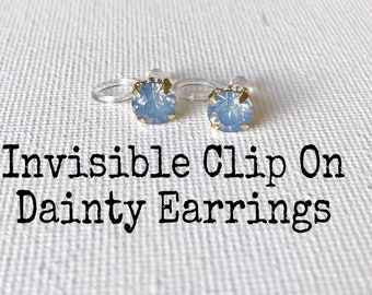 Invisible Clip On Earrings Rhinestone ,Hypoallergenic Earrings, #123