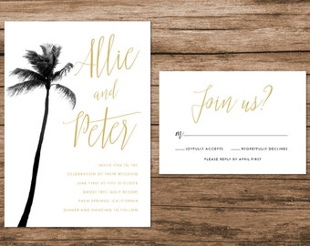 Palm Tree Wedding Invitation, Palm Springs Wedding Invitation, Tropical Wedding Invitation