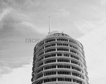 Los Angeles Photography, Capitol Records  Black and White California Print, Rock and Roll