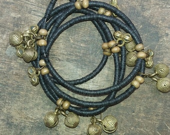 VULCAN West African waist beads, vinyl discs, vintage brass charms and bells, read item details and leave measure