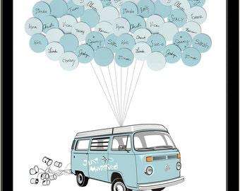 VW Van Wedding Guest Book Print 50 Balloons