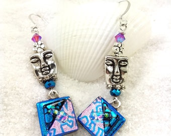 Dichroic glass earrings, fused glass jewelry, dichroic glass, bohemian jewelry, artisan jewelry, creative earrings, mask earrings, blue