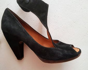 Vintage suede black heels with ankle straps- size 38