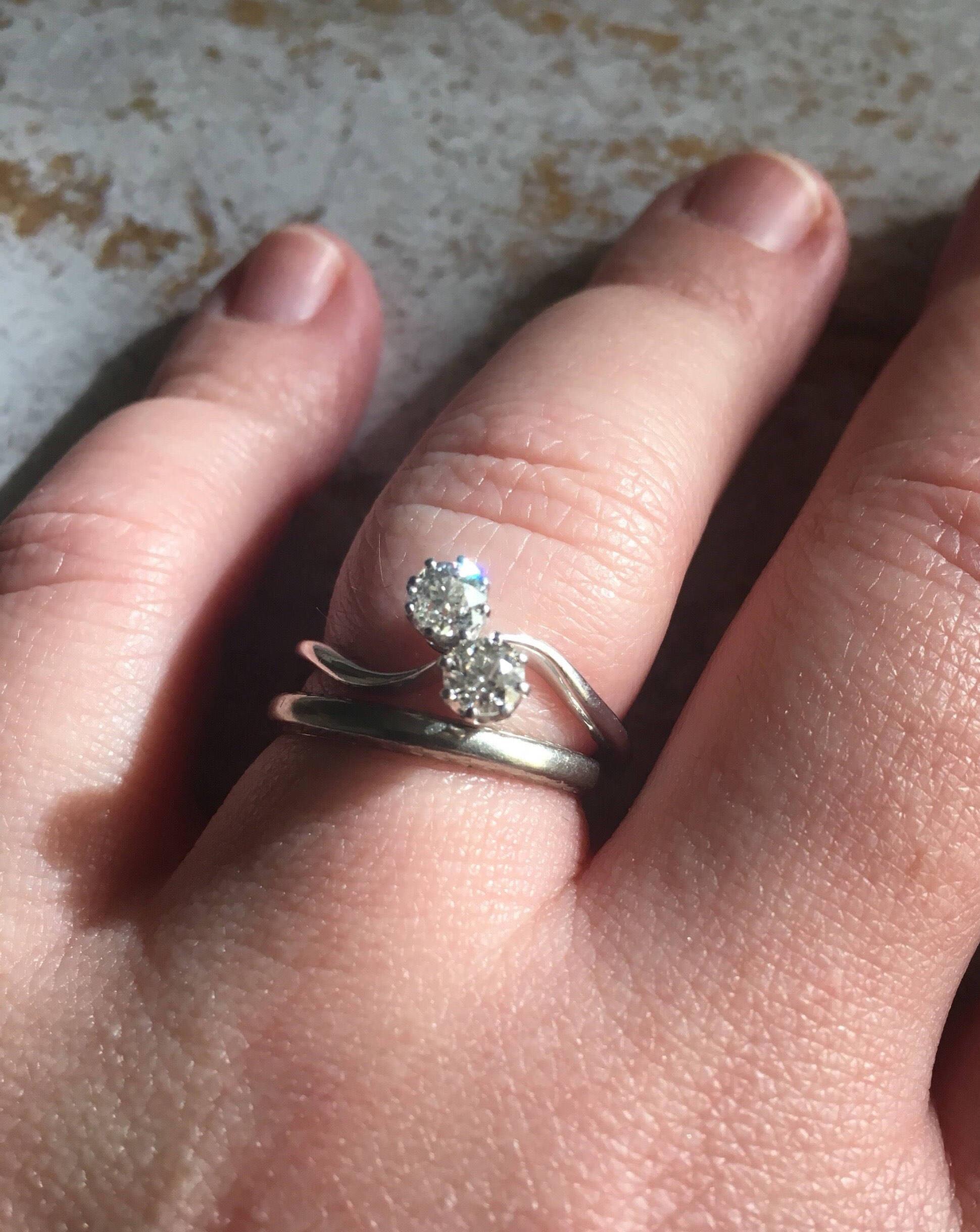 Vintage Platinum Diamond Toi et Moi Ring Wedding Ring