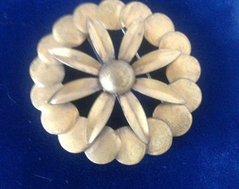 Vintage Signed Kirschenbaum N. Y. Copper Floral Daisy Sunflower Brooch Pin.--Abstract Modernist