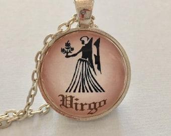 VIRGO glass pendant necklace, Astrology necklace, Virgo jewellery, Silver astrology necklace, Virgo cabochon necklace