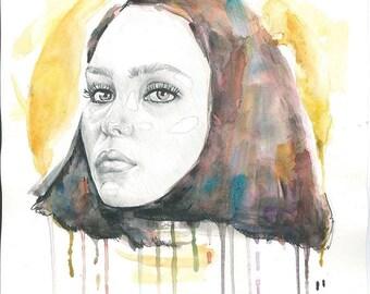 Girl portrait, watercolor / print / pencil / poster