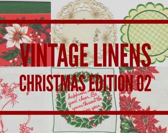 DIGITAL Vintage Linens Pack, Christmas, Printable Paper Pack, Scrapbook, Digital Embroidery, Needlework, Journal Cards, Pages