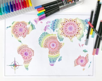 Rainbow Mandala World Map Print - A3
