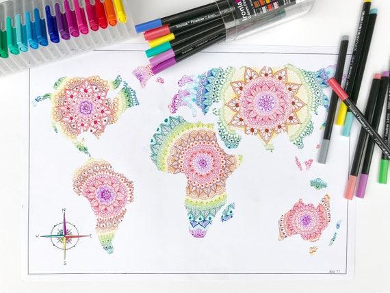 Rainbow mandala world map print a3 like this item gumiabroncs Images