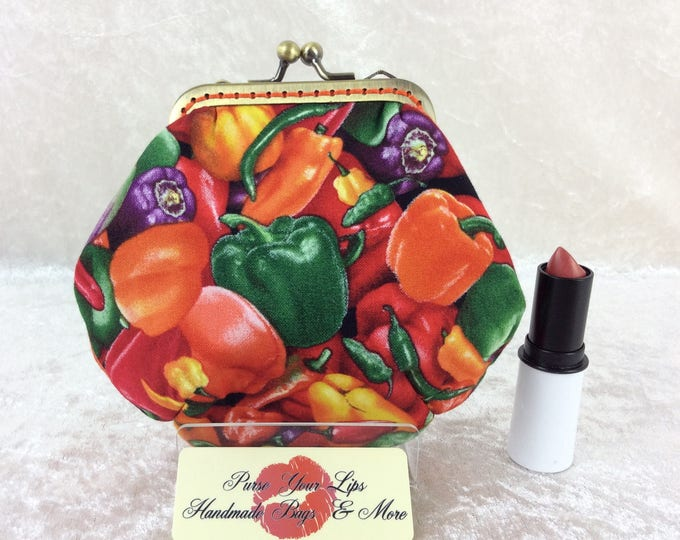 Peppers coin purse wallet fabric kiss clasp frame wallet change pouch handmade Chilli Peppers