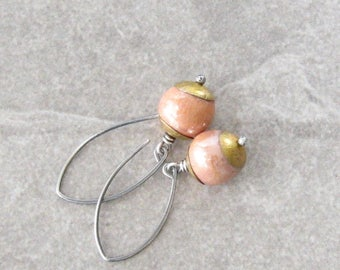 blush pink dangle earrings, kazuri and silver dangle earrings, rustic dangle earrings, mixed metal earrings