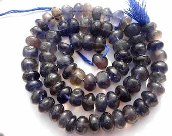 Semiprecious Gemstone Iolite Beads, Rondelle Beads Smooth, Quality C, 8 to 8.50 mm, 36 cm, 66 pieces, IO-045/1