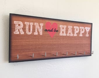 Run and be happy etsy race medal holder race medal hanger run and be happy publicscrutiny Choice Image
