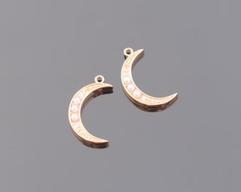 Moon Pendant, Rose gold Crystal Crescent Moon Pendant, Tiny Moon Charm,  Jewelry Findings, 2 pc, PR605