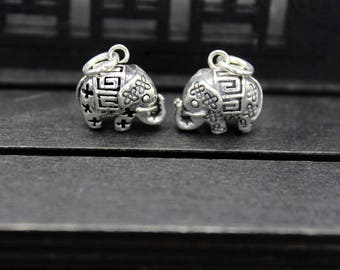 1PC Sterling Silver Elephant Charm, Sterling Silver Elephant Pendant,Thai Silver Elephant jewelry