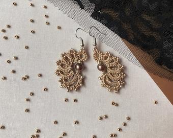 Bead earring, Lace earring, Beige, Earring, Tatting, Frivolite, Tat earring, Tatting earring, Tatting jewerly, Lace jewelry, Tat jewelry