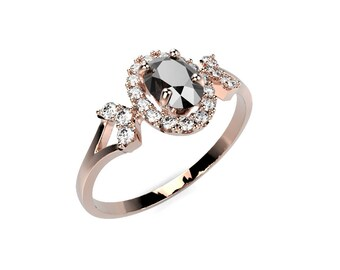 Black Diamond Engagement Ring Black Diamond Ring Rose Gold Black Diamond Engagement Ring Genuine Black Diamond Rose Gold Ring
