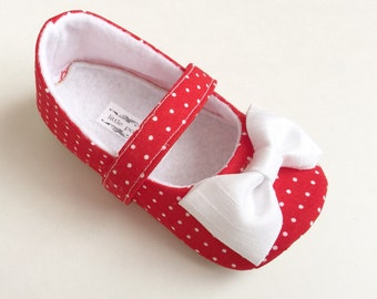Red and White Polka Dot Baby Girl Shoes Toddler Girl Shoes Soft Soled Shoes Picnic Shoes Strawberry Shoes-  Callie