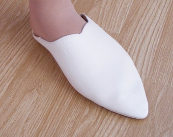 White slipper off leather shoes or slippers size 36 to 40 for wedding / party / ceremony Moroccan