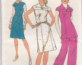 1970s Simplicity No 6232 Sewing Pattern for Womens Dress, Jumper, Top, Pants  Size 10  Bust 32 1/2 inches, Uncut, Factory Folded