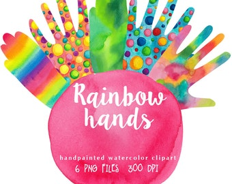 Rainbow hands clipart watercolor, colorful hand graphics, waving hands clip art, digital Invitation DIY art