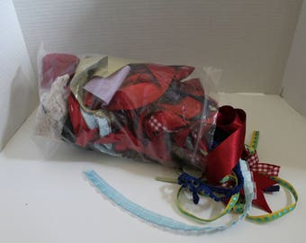 Large bag of new and vintage ribbon pieces and trim
