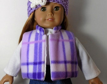 "18"" Doll Clothes fit American Girl Fleece Vest and Crocheted Hat Set LAVENDER PLAID"