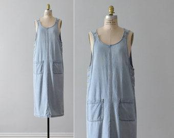 denim apron dress / vintage chambray jumper dress / womens S - M