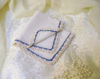 Bridesmaids Handkerchief, Hanky, Hankie, Hand Crochet, Blue, Custom, Embroidered, Personalized, Monogrammed, Crochet, Custom colors