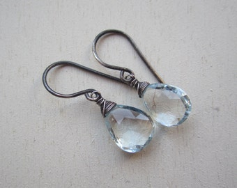 Genuine aquamarine gemstone faceted drop earrings with blackened sterling silver wrap