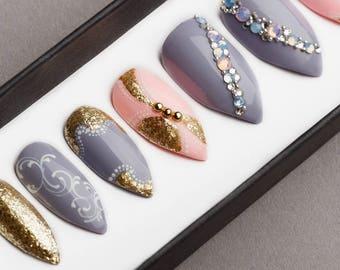 Gray & Pink Press on Nails with Swarovski crystals | Hand painted Nail Art | Fake Nails | False Nails | Artificial Nails | Glitters