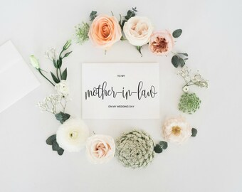 To My Mother In Law On My Wedding Day Card, To My Mother-In-Law Card , Mother of Groom Gift, Wedding Mother In Law Card, INSTANT DOWNLOAD