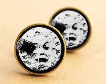 Man in the Moon Cufflinks, Georges Melies, A Trip to the Moon Cufflinks, La Voyage Dans La Lune, Movie Cufflinks,  Vintage Cufflinks, Black