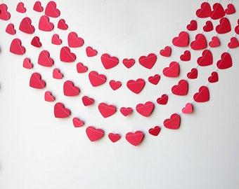Heart garland, Hot pink decoration, Hot pink garland, Wedding decoration, Pink decor, Wedding garland, Bridal shower decor, KCO-3033